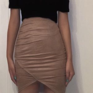 🌹 $1 off🌹 Body con suede asymmetrical mini skirt